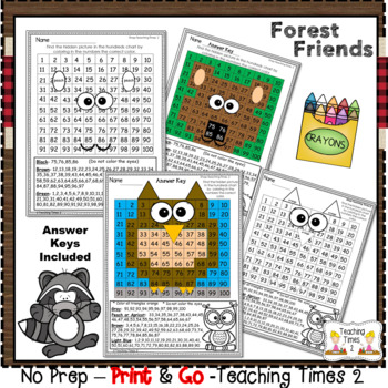 Forest Woodland Animals Hundreds Charts Hidden Pictures