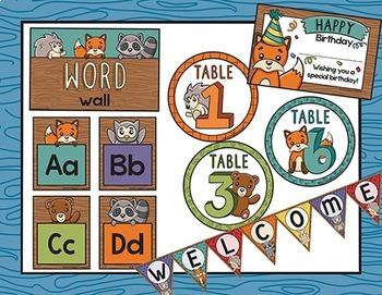 Woodland Classroom Decor Bundle / Forest Animals Classroom Decor / Editable