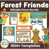 Forest Classroom Decor Pack   Woodland Creatures   Forest Friends Decor Editable
