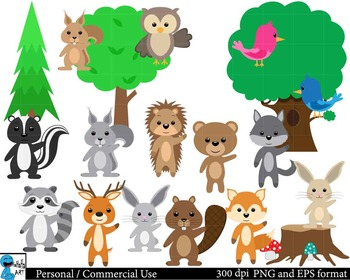 Forest animals Digital Clip Art Graphics 42 images cod59