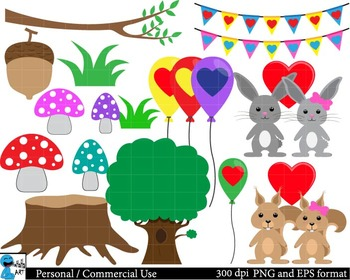 Forest animals in love Set Clipart Personal, Commercial Use 39 images cod106
