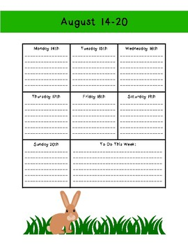 Forest or Camping Theme Weekly Calendar