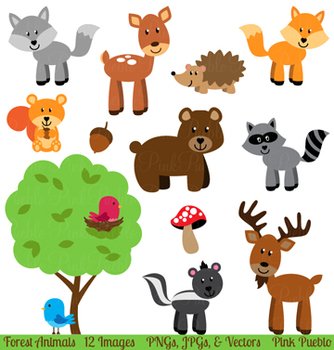 Forest or Woodland Animals Clipart and Vectors