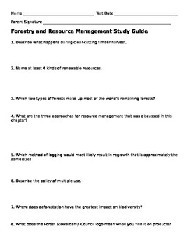 Forestry Study Guide