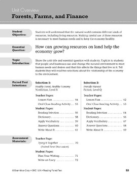 Forests, Farms, and Finance (Reading Paired Text)