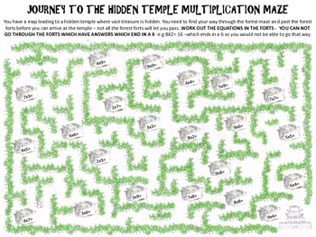Forests Math Activity: Forest Multiplication Maze: Journey to the Hidden Temple