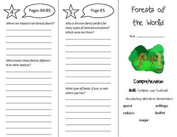Forests of the World Trifold - Treasures 5th Grade Unit 1