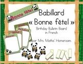 Forêt de bambou (thème panda) Birthday Bulletin Board in French