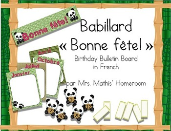Forêt de bambou (thème panda) Birthday Bulletin Board in French