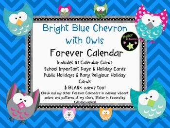 Chevron&OwlCalendar-Month Headers-Numbers-Holiday & Blank Cards
