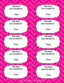 Forever Freebie Chevron Bookplates / Labels - This Book was Donated to