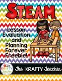 Freebie STEAM, STEM Lesson Evaluation Lesson Planning Templates