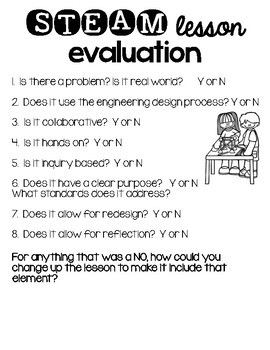 STEAM STEM Lesson Evaluation Lesson Planning Templates By Krafty - Stem lesson plan template