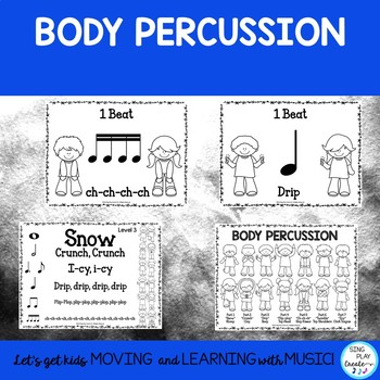 """FREEBIE Winter Music Lesson: """"Snow-Orff"""" Body Percussion, Rhythms, Activities"""