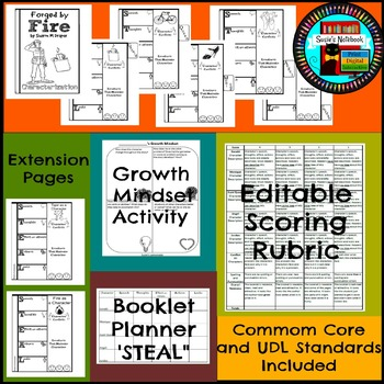 Forged by Fire Character Flip Book, Rubric, Extension Activities, Growth Mindset