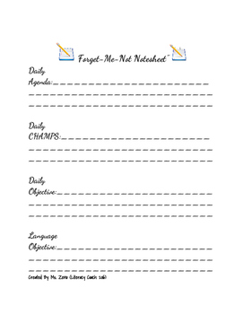 Forget Me Not Notesheet