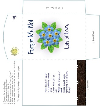 Forget Me Not Seed Packet - End of the Year Gift to Students