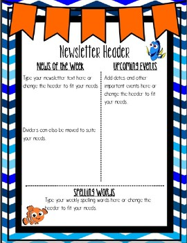 Forgetful Fish Inspired Newsletter Template- Editable