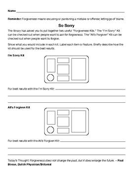 Forgiveness Character Lesson Plan
