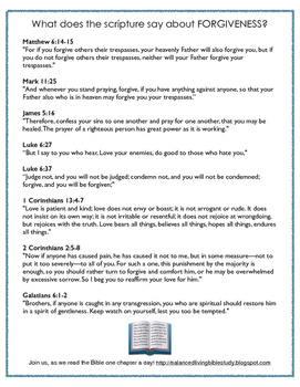 Forgiveness ~ Scripture Reference
