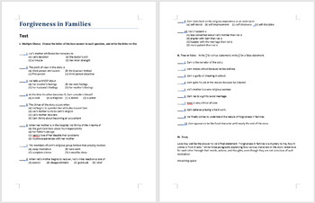 Forgiveness in Families exam - multiple choice, true and false, and essay
