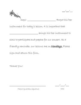 Forgot Instrument Letter