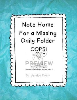 Forgot Your Folder Reminder & Behavior Tracker