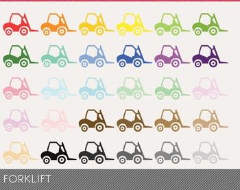 Forklift Digital Clipart, Forklift Graphics, Forklift PNG, Rainbow Forklift
