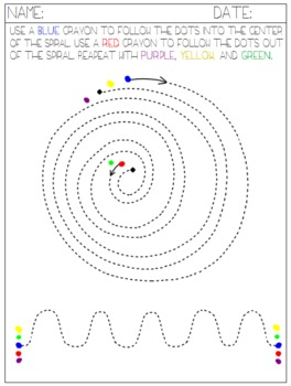 Form Drawing - Beginning Writing - Curves Spiral Humps - Colors