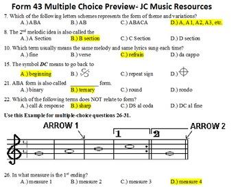 Form 43 Multiple Choice Master List