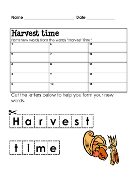 Form a Word: HARVEST TIME