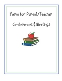 Form for Parent-Teacher Conference Notes