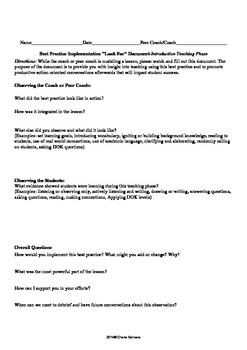 Form for Teachers Observing an Instructional Coach Modeling Teaching