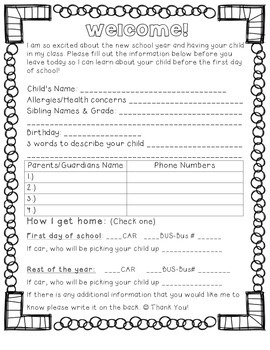 Form for parents to fill out at meet the teacher