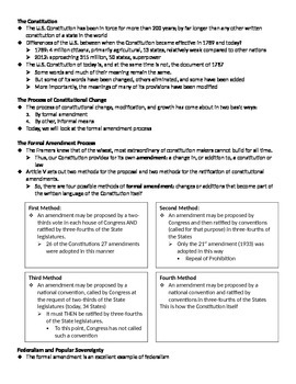 Formal Amendment Process PowerPoint and Fill-in Notes
