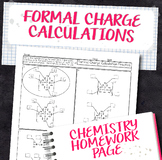 Formal Charge Calculation Practice Chemistry Homework Worksheet