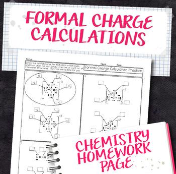 Formal Charge Calculation Practice Chemistry Homework Worksheet