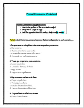 Formal Commands Activity