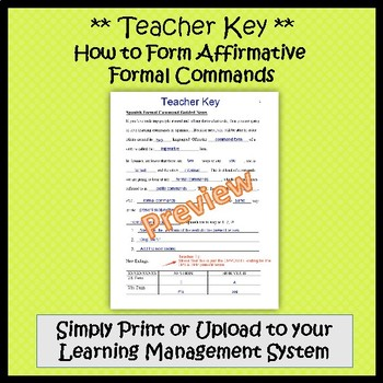Formal Commands in Spanish (Negative & Affirmative) - Guided Notes and Key
