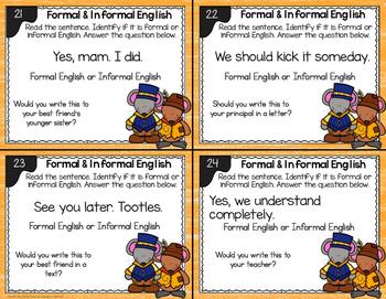 Formal and Informal Language Task Cards - L.2.3.A