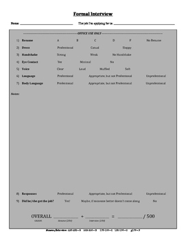 Formal Interview Assessment