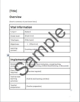 Formal Lesson Plan Template (for all subjects, grade levels)