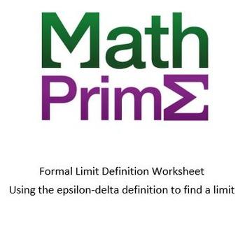 Formal Limit Definition Worksheet