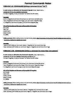 Formal (Ud/Uds) Commands Notes/Handout