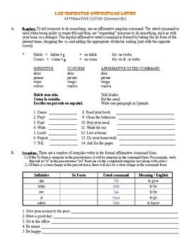 Grammar Bundle #13 (Formal Usted Commands / Imperatives)