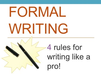 Formal Writing - PowerPoint and Note Taker for High School
