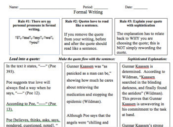 Formal Writing Practice Packet
