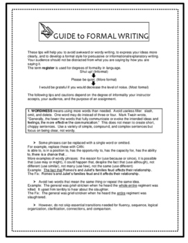Expository Writing Guide CCSS W1d, 2e Formal Style Tips, Examples, Practice