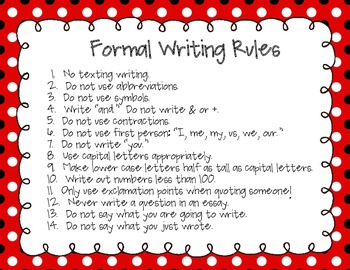 Rules for writing an essay