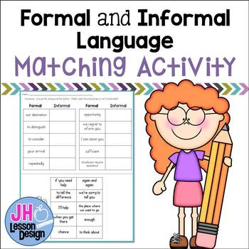 Formal and informal language matching activity by jh lesson design formal and informal language matching activity m4hsunfo